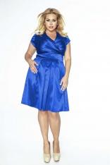 Chabrowa Sukienka Midi Plus Size z Kopertowym Dekoltem