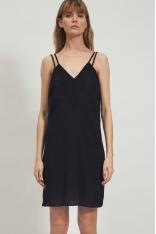 Czarna Sukienka na Podwójnych Ramiączkach