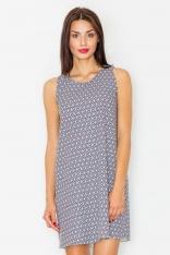 Żakardowa Sukienka bez Rękawów w Geometryczny Wzór 29