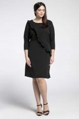 Czarna Klasyczna Sukienka z Asymetryczną Falbanką PLUS SIZE