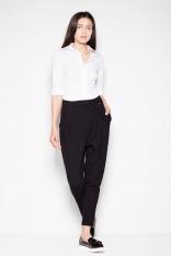 Czarne Damskie Spodnie z Zaszewkami