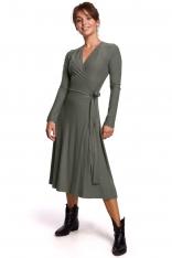 Sukienka Kopertowa z Długim Rękawem - Khaki