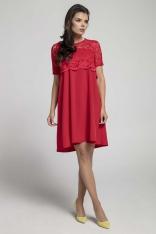 Czerwona Wizytowa Sukienka Trapezowa z Koronkową Nakładką