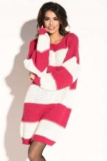 Różowa Krótka Wełniana Sukienka -Tunika w Pasy
