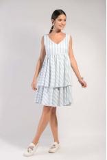 Biało Niebieska Warstwowa Zwiewna Sukienka na Szerokich Ramiączkach