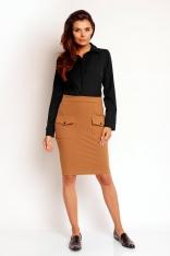 Brązowa Modna Ołówkowa Midi Spódnica z Nakładanymi Kieszeniami