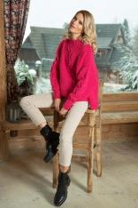 Różowy Ciepły Sweter z Warkoczem z Metaliczną Nitką