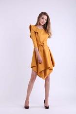 Kamelowa Asymetryczna Sukienka Wizytowa ze Sznurowanym Paskiem