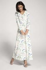 Długa Biała Sukienka w Kwiaty z Falbankami przy Dekolcie