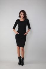 Czarna Dopasowana Sukienka w Sportowym Stylu
