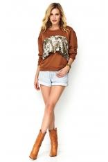 Kamelowa Klasyczna Bluza Dresowa z Cekinami