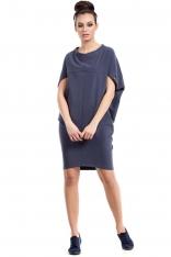 Niebieska Sukienka-Tunika z Geometrycznymi Cięciami