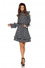 Wzorzysta Sukienka w Kropki z Falbankami Typu Cold Shoulder