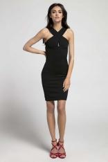 Czarna Sukienka Bodycon z Przekładanym Dekoltem