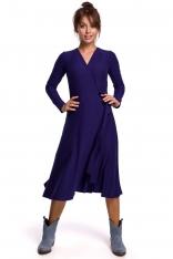 Sukienka Kopertowa z Długim Rękawem - Indygo