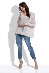 Beżowy Nietuzinkowy Oversizowy Sweter z Kapturem