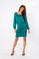 Zielona Dzianinowa Sukienka z Ozdobnym Wiązaniem
