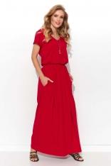 Czerwona Letnia Sukienka Maxi z Kieszeniami
