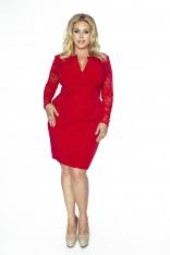 Czerwona Koronkowa Sukienka Kopertowy Dekolt Plus Size