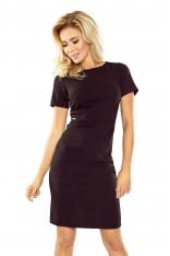 Czarna Klasyczna sukienka Mini z Krótkim Rękawem