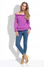 Krokusowy Sweter z Dekoltem Typu Carmen