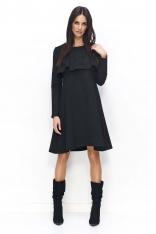 Czarna Sukienka Trapezowa z Ozdobną Falbanką przy Dekolcie