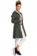 Zielona Długa Bluza na Suwak z Kapturem