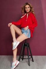 Czerwona Lekko Asymetryczna Bluza z Kapturem