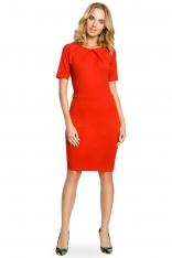 Czerwona Elagancka Sukienka z Zakładkami przy Dekolcie