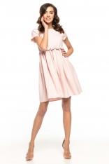 Pudrowa Lekka Zwiewna Sukienka z Mini Rękawkiem