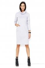Szara Dresowa Midi Sukienka z Golfem