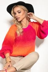 Kolorowy Sweter z Bufiastym Rękawem - Pomarańczowy