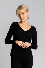 Bluzka Bawełniana z Długim Rękawem - Czarna