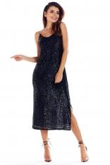 Dopasowana Czarna Midi Sukienka z Cekinami