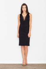 Czarna Sukienka Midi ze Sznurowaniem przy Dekolcie