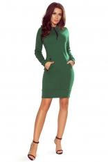 Zielona Sportowa Sukienka z Kapturem