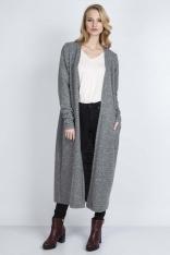 Szary Długi Sweter Płaszczowy bez Zapięcia