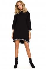 Czarna Dzianinowa Asymetryczna Sukienko-Bluza z Kapturem