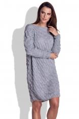 Szara Sukienka Swetrowa Luźna w Warkocze