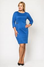 Klasyczna Chabrowa Dopasowana Sukienka z Ozdobnymi Suwakami Moda XL