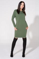 Zielona Sukienka z Dołączonym Kołnierzykiem