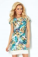 Niebiesko Pomarańczowa  Sukienka w Kwiaty z Nakładanymi Kieszeniami