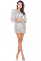 Beżowa Cekinowa Mini Sukienka z Długim Rękawem