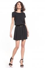 Rozkloszowana Sukienka z Dekoltem V na Plecach - Czarna