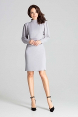 Szara Dopasowana Sukienka z Długim Bufiastym Rękawem