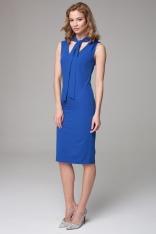 Kobaltowa Dopasowana Midi Sukienka z Wiązanym Szalem