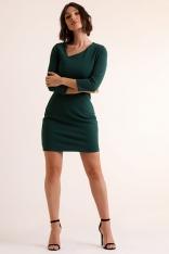 Ołówkowa Mini Sukienka z Asymetrycznym Dekoltem - Zielona