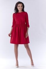 Czerwona Elegancka Sukienka z Okrągłym Kołnierzykiem