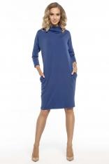 Codzienna Niebieska Sukienka z Szerokim Golfem