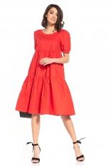 Zwiewna Midi Sukienka - Czerwonah